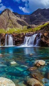 wallpaper, stones, mountains, , waterfall, , stream, , lake, , clouds, 1920x1440, hd, picture, , image