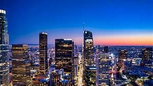 los, angeles, city, 4k, wallpaper, , city, skyline, , cityscape, , aerial, view, , blue, hour, , horizon, , clear