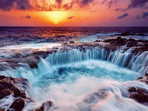 Gorgeous, Falls, In, A, Rocky, Seashore, At, Sunset, Hdr, Hd, Wallpaper, 504254, Wallpapers13, Com